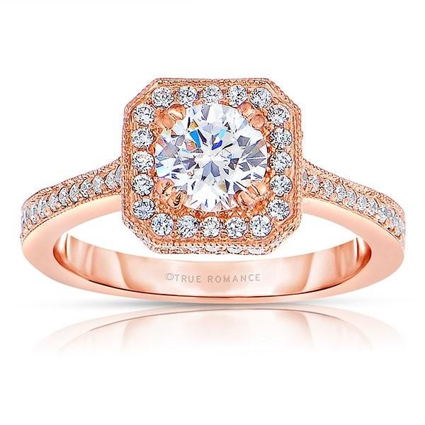 Rm1414r-14k Rose Gold Round Cut Halo Diamond Semi Mount Engagement Ring