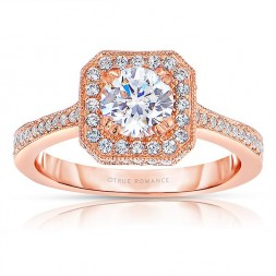 Rm1414r-14k Rose Gold Round Cut Halo Diamond Engagement Ring