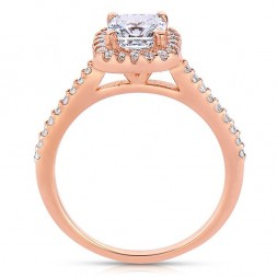 Rm1416cu-14k Rose Gold Cushion Cut Halo Diamond Semi Mount Engagement Ring