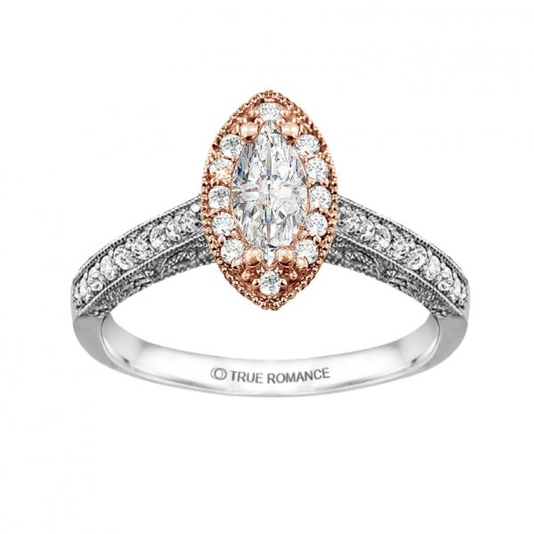 Rm1430m -14k White Gold Marquise Cut Halo Diamond Vintage Semi Mount Engagement Ring