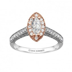 Rm1430m -14k White Gold Marquise Cut Halo Diamond Vintage Engagement Ring
