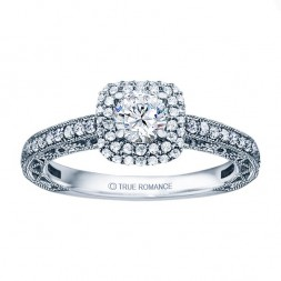 Rm1434r -14k White Gold Round Cut Double Halo Diamond Vintage Semi Mount Engagement Ring