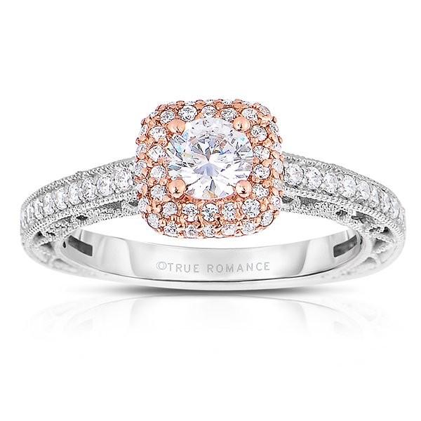 Rm1434rrs -14k Rose Gold Round Cut Double Halo Diamond Vintage Semi Mount Engagement Ring
