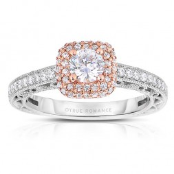 Rm1434rrs -14k Rose Gold Round Cut Double Halo Diamond Vintage Semi Mount Engagement Ring