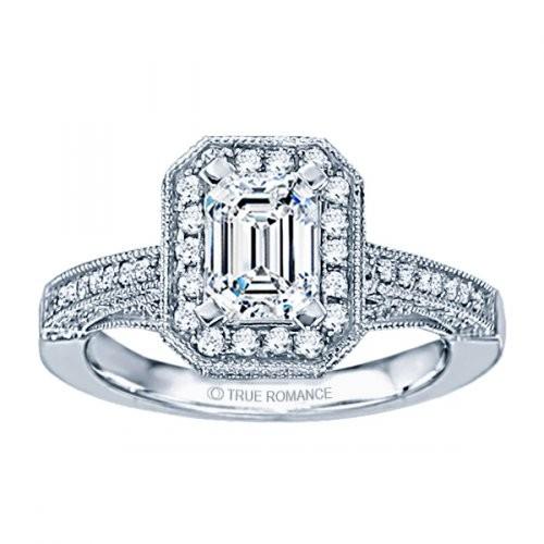 Rm1436-14k White Gold Vintage Semi Mount Engagement Ring
