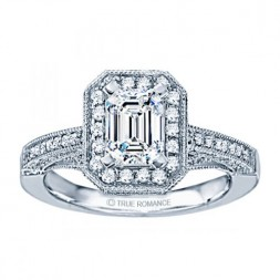 Rm1436-14k White Gold Vintage Engagement Ring