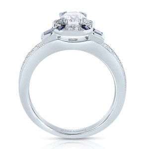 Rm1437rsap -14k White Gold Round Cut Halo Diamond Vintage Engagement Ring