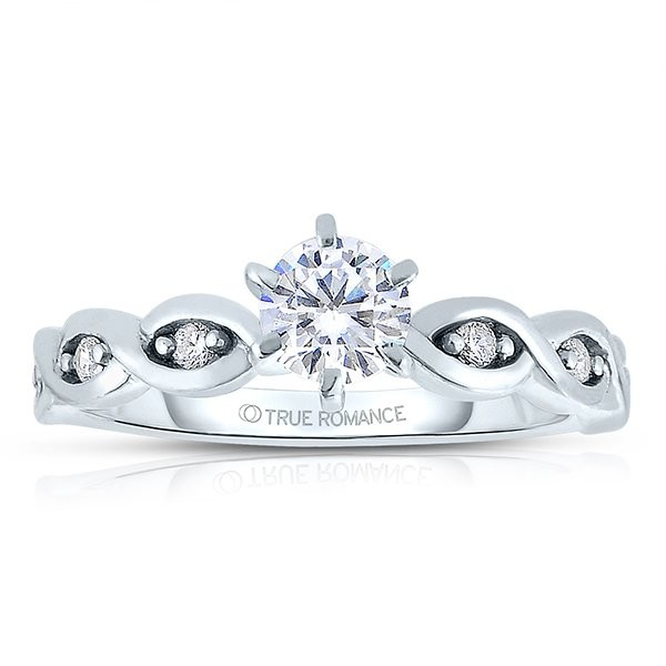 Rm1439 -14k White Gold Round Cut Diamond Infinity Semi Mount Engagement Ring