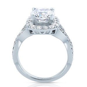 Rm1444x-14k White Gold Round Cut Halo Diamond Infinity Engagement Ring