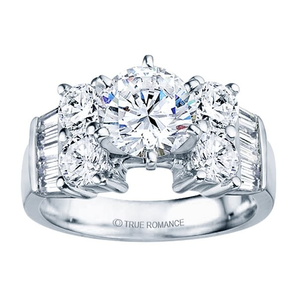 Rm387-14k White Gold Classic Semi Mount Engagement Ring