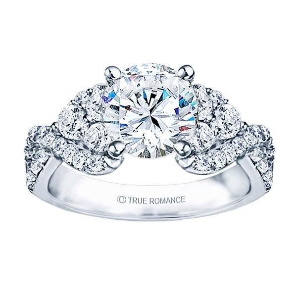 Rm985-14k White Gold Infinity Semi Mount Engagement Ring