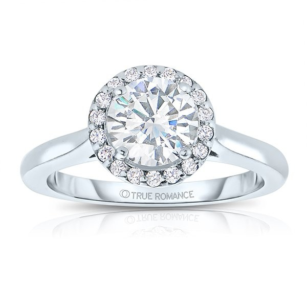 Sol102tt-14k White Gold Round Cut Halo Diamond Engagement Ring
