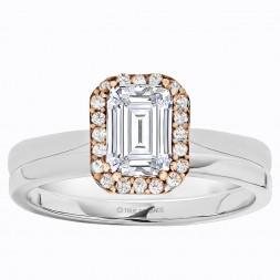 Emerald Cut Halo Diamond Semi Mount Engagement Ring