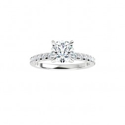 14K White  Round French set Engagement Ring (.42ctw.)