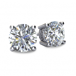 4-PRONG 14K WHITE GOLD BASKET STYLE ROUND DIAMOND STUD EARRINGS WITH THREADED BACKS