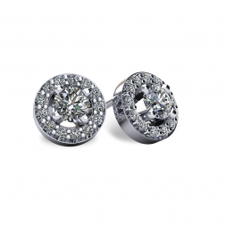 14KT White Gold Round Halo-Style Earrings With Friction Backs
