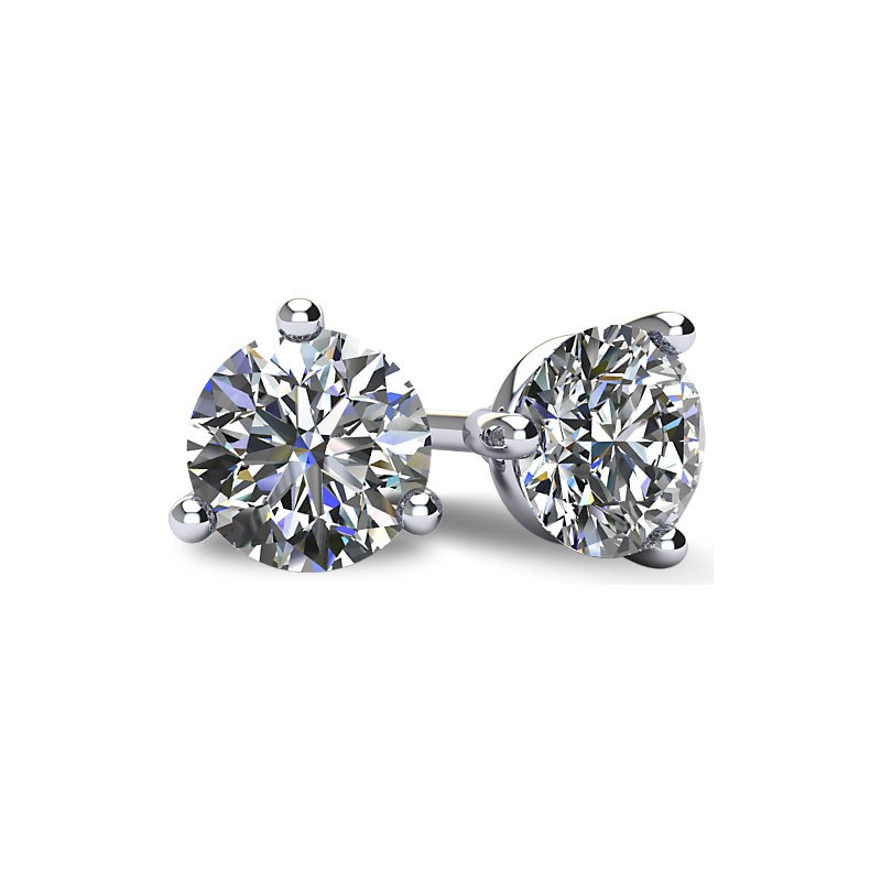 3-PRONG 14K WHITE GOLD MARTINI-STYLE ROUND DIAMOND STUD EARRINGS WITH FRICTION BACKS