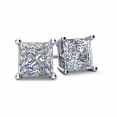 4-PRONG 14K WHITE GOLD PRINCESS-CUT DIAMOND STUD EARRINGS WITH FRICTION BACKS