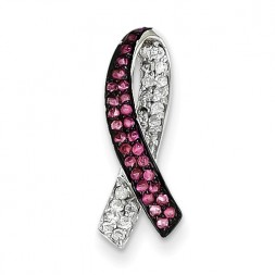 Breast Cancer Awareness Dia & Pink Sapphire Slide