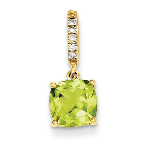 Diamond & Peridot Pendant 17mm x 7mm
