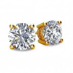 4-PRONG 14K YELLOW GOLD BASKET STYLE ROUND DIAMOND STUD EARRINGS WITH THREADED BACKS