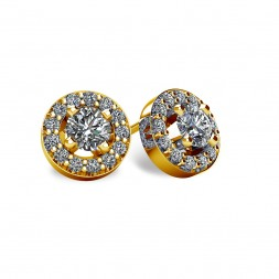 14KT Yellow Gold Round Halo-Style Earrings With Friction Backs