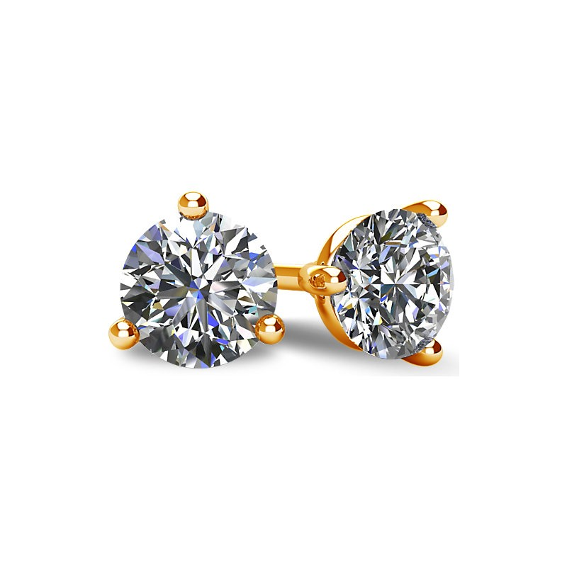 3-PRONG 14K YELLOW GOLD MARTINI-STYLE ROUND DIAMOND STUD EARRINGS WITH FRICTION BACKS