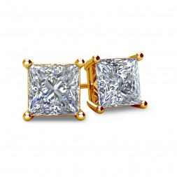 4-PRONG 14K YELLOW GOLD PRINCESS-CUT DIAMOND STUD EARRINGS WITH FRICTION BACKS